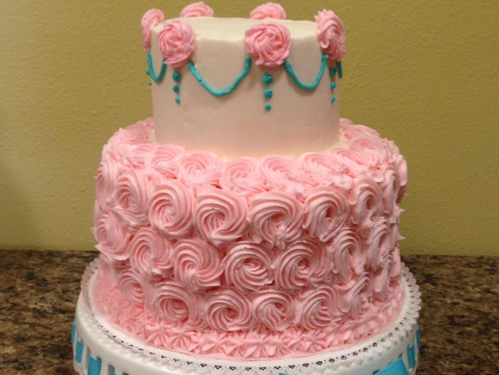 Two tiered rosette cake