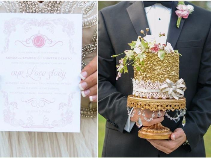 Gold Sequence Cake paired with an invitation from tiny oak studio