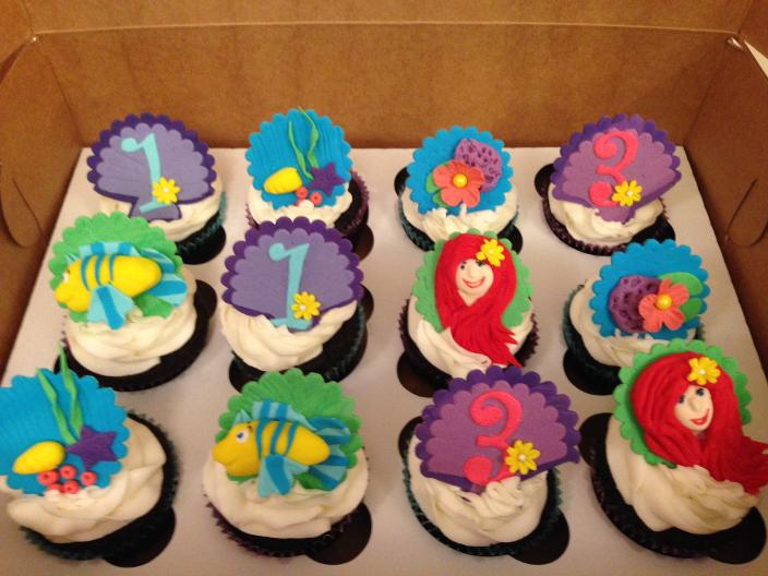 Little Mermaid and Flounder cup cakes