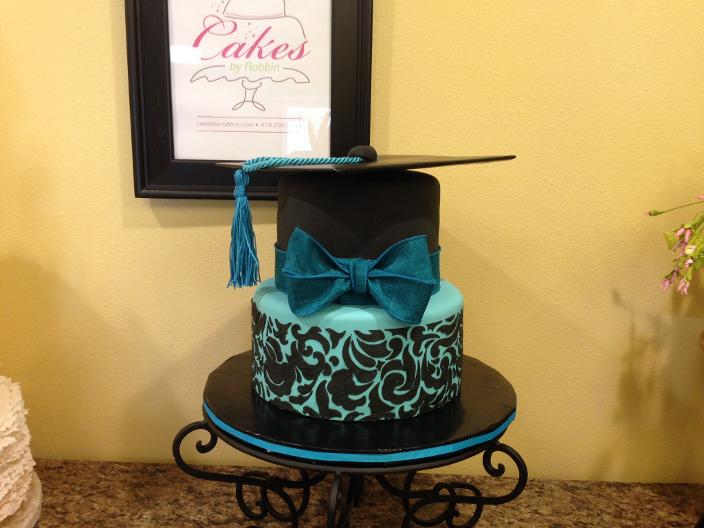 Teal and Black Stenciled Graduation Cake