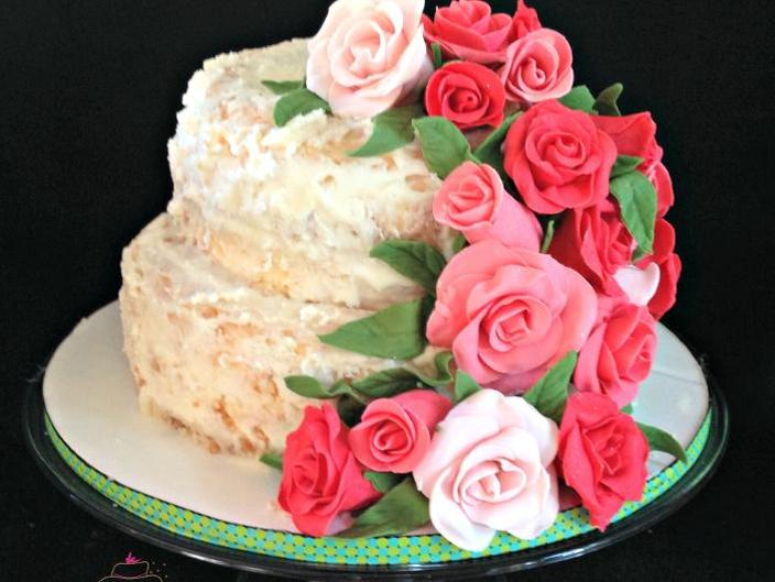 Angel Food Cake with Roses