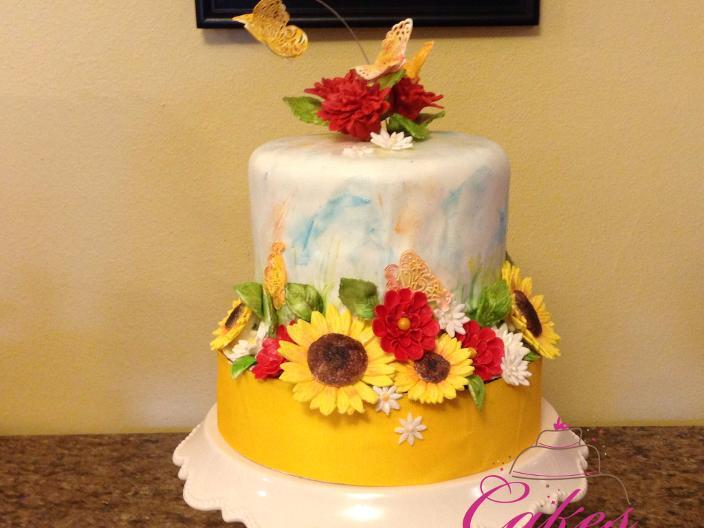 Water Color Cake with Sunflowers
